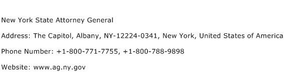 New York State Attorney General Address Contact Number