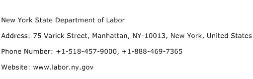New York State Department of Labor Address Contact Number