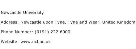 Newcastle University Address Contact Number
