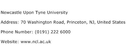 Newcastle Upon Tyne University Address Contact Number