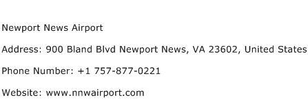 Newport News Airport Address Contact Number