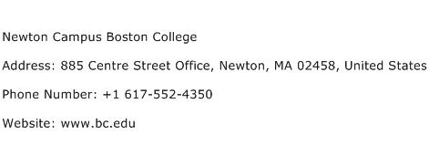 Newton Campus Boston College Address Contact Number