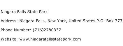 Niagara Falls State Park Address Contact Number