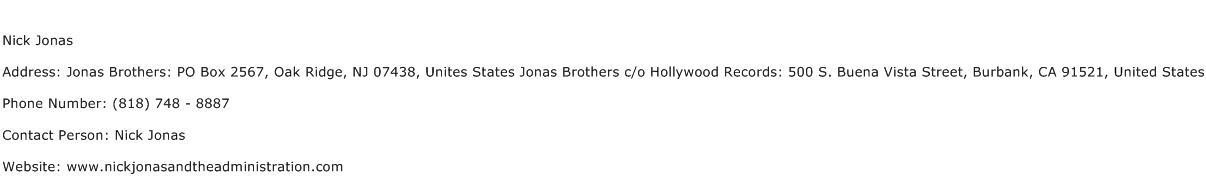 Nick Jonas Address Contact Number