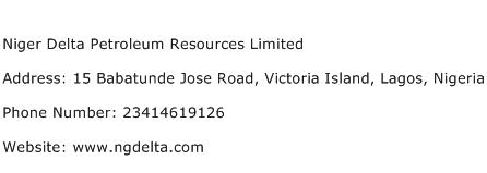 Niger Delta Petroleum Resources Limited Address Contact Number