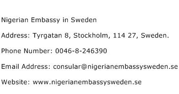 Nigerian Embassy in Sweden Address Contact Number