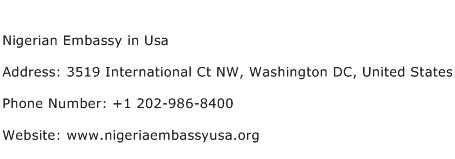 Nigerian Embassy in Usa Address Contact Number