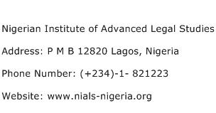 Nigerian Institute of Advanced Legal Studies Address Contact Number