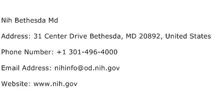 Nih Bethesda Md Address Contact Number