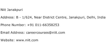 Niit Janakpuri Address Contact Number