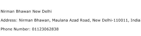 Nirman Bhawan New Delhi Address Contact Number