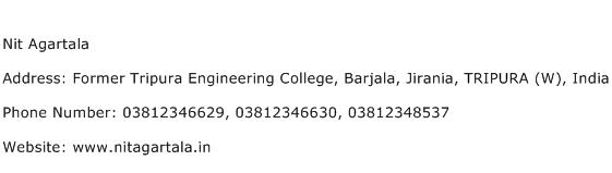 Nit Agartala Address Contact Number