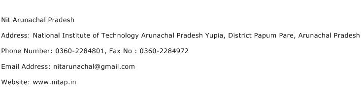 Nit Arunachal Pradesh Address Contact Number