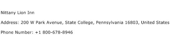 Nittany Lion Inn Address Contact Number