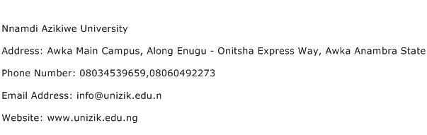Nnamdi Azikiwe University Address Contact Number