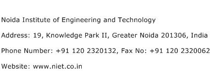 Noida Institute of Engineering and Technology Address Contact Number