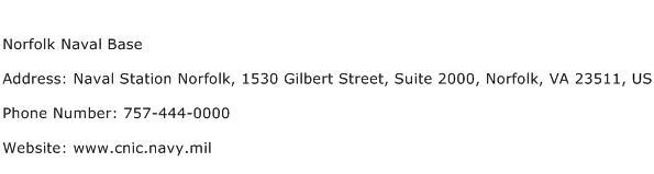 Norfolk Naval Base Address Contact Number