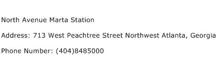 North Avenue Marta Station Address Contact Number