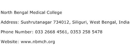 North Bengal Medical College Address Contact Number
