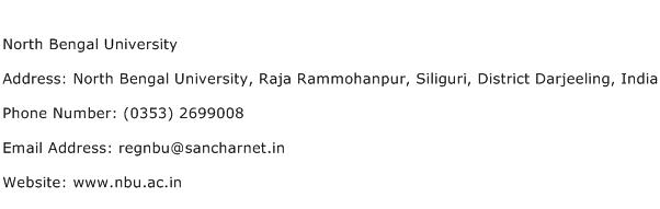 North Bengal University Address Contact Number