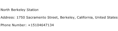 North Berkeley Station Address Contact Number