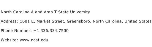 North Carolina A and Amp T State University Address Contact Number
