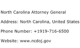 North Carolina Attorney General Address Contact Number