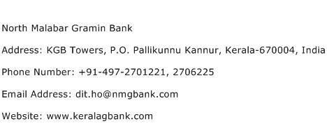 North Malabar Gramin Bank Address Contact Number