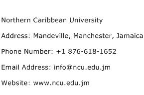 Northern Caribbean University Address Contact Number