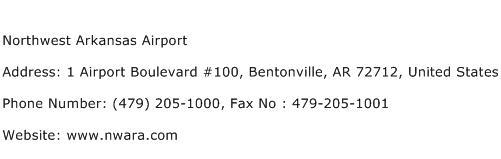 Northwest Arkansas Airport Address Contact Number