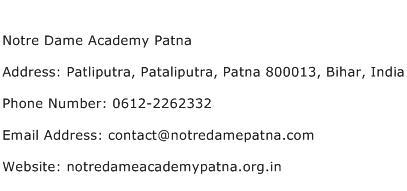 Notre Dame Academy Patna Address Contact Number
