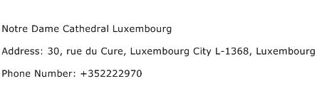 Notre Dame Cathedral Luxembourg Address Contact Number