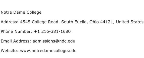 Notre Dame College Address Contact Number
