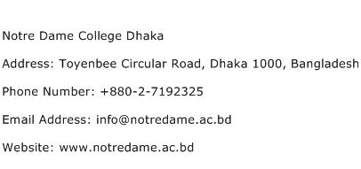 Notre Dame College Dhaka Address Contact Number