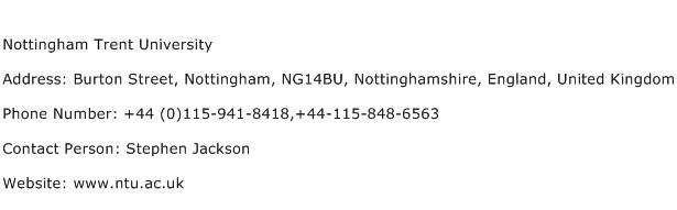 Nottingham Trent University Address Contact Number