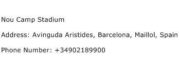 Nou Camp Stadium Address Contact Number