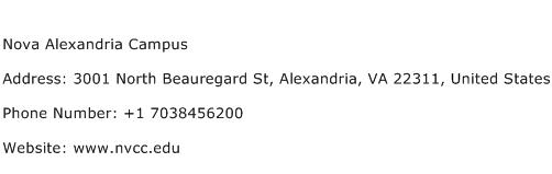 Nova Alexandria Campus Address Contact Number