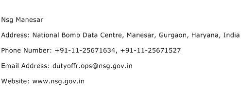 Nsg Manesar Address Contact Number