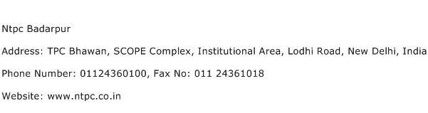 Ntpc Badarpur Address Contact Number