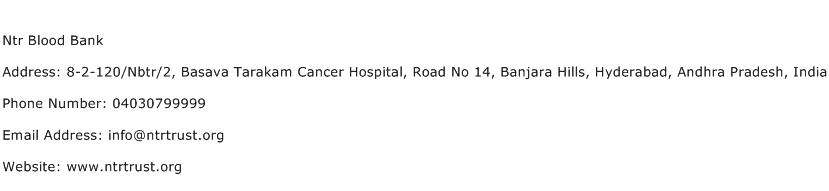 Ntr Blood Bank Address Contact Number