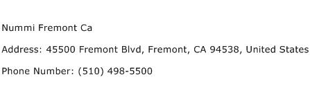 Nummi Fremont Ca Address Contact Number