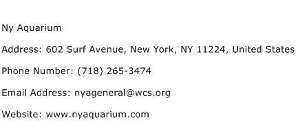 Ny Aquarium Address Contact Number