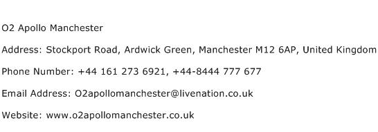 O2 Apollo Manchester Address Contact Number
