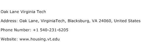 Oak Lane Virginia Tech Address Contact Number