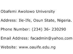 Obafemi Awolowo University Address Contact Number