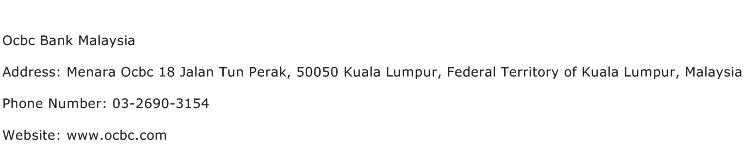 Ocbc Bank Malaysia Address Contact Number