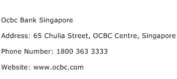Ocbc Bank Singapore Address Contact Number