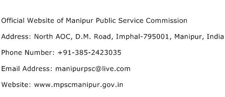 Official Website of Manipur Public Service Commission Address Contact Number