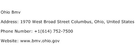 Ohio Bmv Address Contact Number