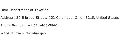 Ohio Department of Taxation Address Contact Number